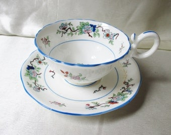 Vintage Coalport Tea Cup\Saucer, Gorgeous Hand Decorated and Jeweled Floral Motif,Blue  Blue trim on rims, foot and handle. Mothers Day Gift