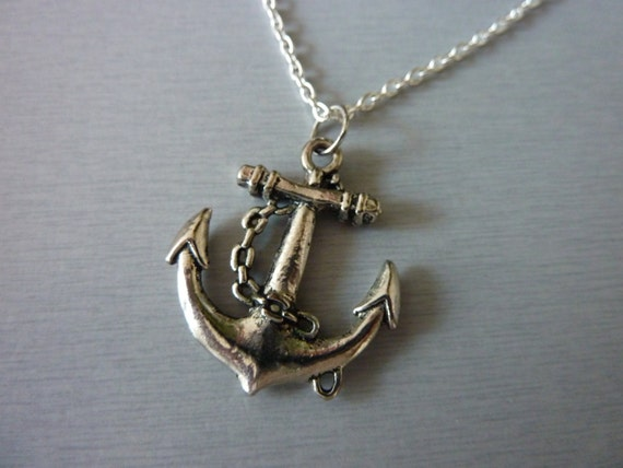 Items similar to mens anchor necklace mens jewelry for Mens jewelry stores near me