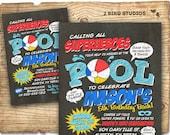 Superhero pool party invitation -  Superhero birthday invitation for pool party - Chalkboard pool party invitation - Superhero party PDF