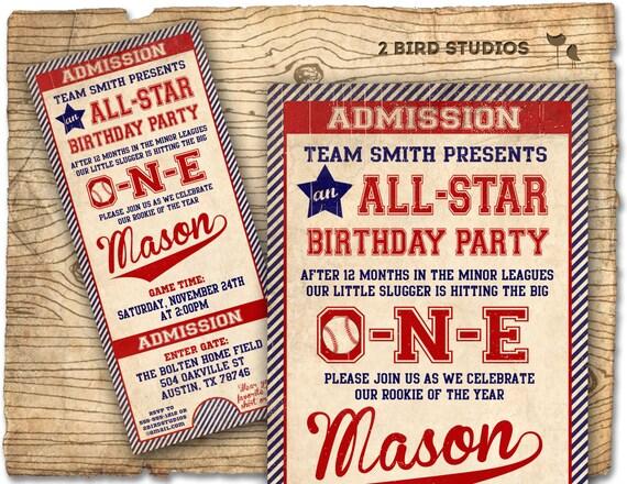Baseball birthday invitation first birthday invitation baseball