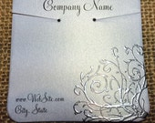 20 Elegant Flourish Necklace Display Cards - Hand Stamped & Embossed Scroll, Flourish, Customize Any Embossing Color (Silver, Bronze, misc)