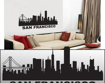 "Wall Decal Sticker San Francisco Skyline 22"" Tall 54"" Wide in White or Black"