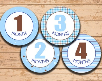Instant Download. Printable Milestone Stickers. Baby Month Stickers. Template.