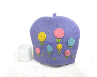 Bright pastel tea cozy Spring tea pot cosy Mauve wool teacosy Applique flowers cosy Hand embroidered Purple teapot cover Upcycled blankets
