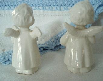 Vintage Christmas Nativity Goebel Hummel White Porcelain Angel Pair Harp Accordion Rare