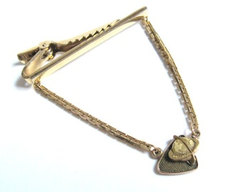 Vintage 1970s WARNER LAMBERT Pharmaceutical 10k Gold Corporate Logo Charm 12k Gold Fill ANSON Tie Clip Clasp Florentine Chain MidCentury Mod