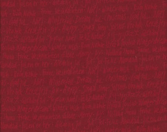 Holiday Text on Red from Winterfall by Lecien Fabrics