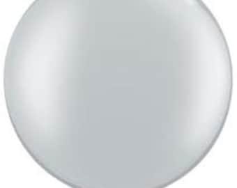 "Silver balloons, 36"" Silver Balloons, Silver 3 foot Balloon, HUGE Round Latex Balloons, Silver Big Balloons, high quality"