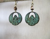 Egyptian Scarab Earrings - Verdigirs Scarab Earrings - Egyptian Earrings - Patina Earrings - Dangle Earrings