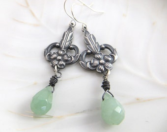 Art Deco Earrings - Floral Earrings - Green Aventurine Briolette - Vintge inspired Jewelry - Dangle Earrings