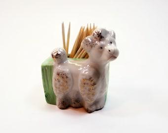 Vintage Toothpick Holder - Poodle Dog Toothpick Holder -  Miniature Poodle Figurine