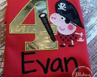 Pirate George Peppa Pig Birthday Custom Tee Shirt - Customizable -  Infant to Youth 235