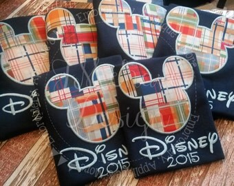 Plaid Mouse Custom embroidered Disney Inspired Vacation Shirts for the Family! 787 blue