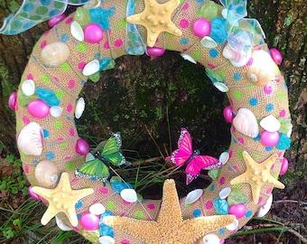 Shell Wreath, Starfish Wreath, Beach Decor, Burlap wreath