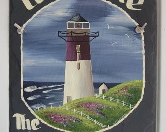 Handpainted Personalized Lighthouse Beach Nautical Slate Welcome Sign Summer