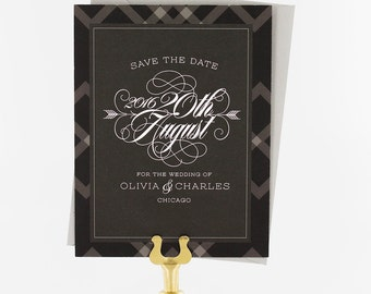 Save the Date Cards, Save the Date Wedding, Modern Wedding, Urban Chic, Plaid, Glam - Olivia Save the Date Card