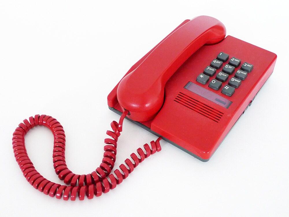 bouton poussoir rouge t l phone ann es 80 t l phone. Black Bedroom Furniture Sets. Home Design Ideas