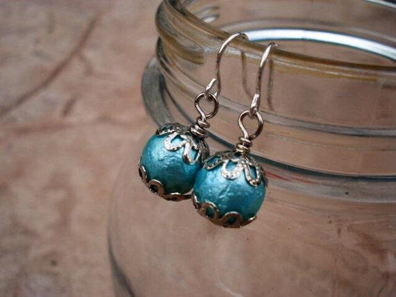 Teal Czech Glass Beaded Earrings, Dangle Earrings, Drop Earrings, Silver Earrings, Earrings Handmade, Earrings Dangle, Glass Earrings