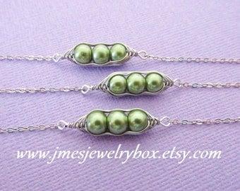 Three peas in a pod best friend bracelet set - Green