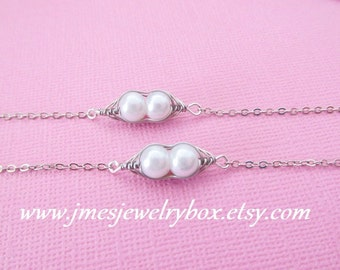 Two peas in a pod best friend bracelet set - White