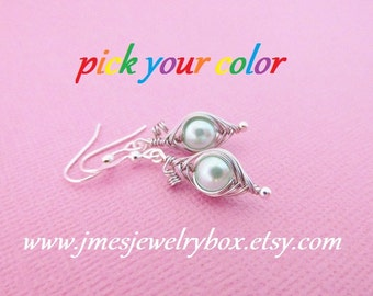 One pea in a pod earrings - Choose your color! Made to order