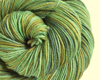 4 ply Sock Yarn, fingering weight yarn, hand dyed, superwash merino and nylon wool- 500 meters, green, olive green and blue