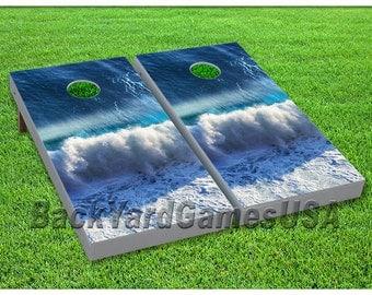 Custom Cornhole Boards with bags Waves Cornhole Board Game Set 023