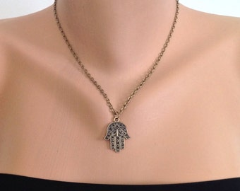 Cute Hamsa Charm,Brass Hamsa Hand Necklace,Antique Brass Necklace ,Fatma Hand ,Boho jewelry, Necklace,Protection  pendant,Sacred symbol