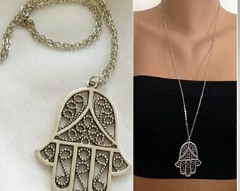 Silver Hamsa Charm, Antique Silver Hamsa Hand Necklace, Antique Silver Necklace, Fatma Hand, Boho jewelry, Hamsa pendant, Christmas Gift
