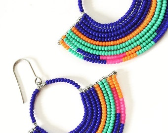 Handmade Beaded Geometric Hoop Earrings - Tribal Jewelry - Statement Earrings - Seed Bead Jewelry