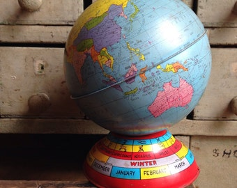Vintage Globe Bank With Astrological Signs