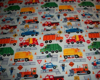 Traffic Jam trucks with people  cotton  Crib/toddler fitted  sheet