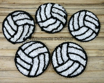 """Volleyball Chiffon Rosettes - White and Black - Sports Ball Applique - 3"""""""