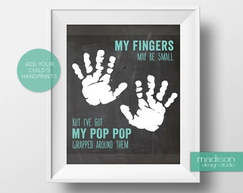 POPPOP // FATHERS DAY - My Fingers May Be Small, Footprints, Chalkboard // Instant Download