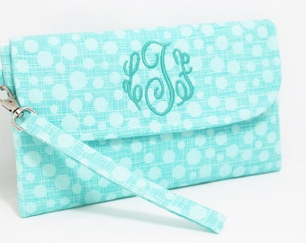 Monogrammed Wristlet in Choice of Fabrics