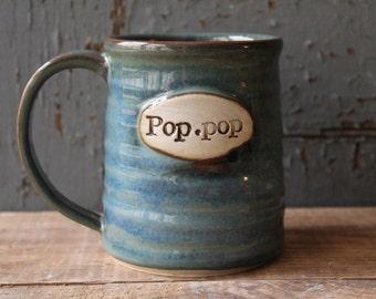Pop Pop Mug, green, blue, IN STOCK, ready to ship