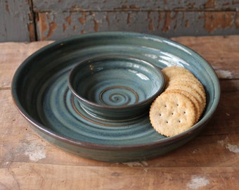 Chips and dip set, tray, serving dish, Wedding Gift, Tidal Pool Green, Blue, IN STOCK, ready to ship