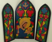 Vintage 3 Panel Christmas Display Decor Mary with Baby Jesus Nativity Church Stained Glass Paper on Wood
