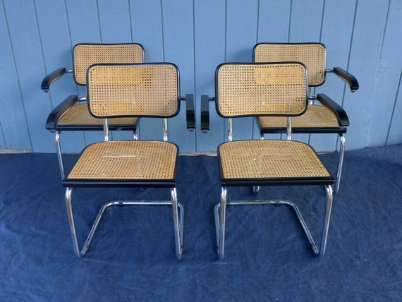 Set Of 4 Vintage Marcel Breuer Cesca Style Arm Chairs Cane