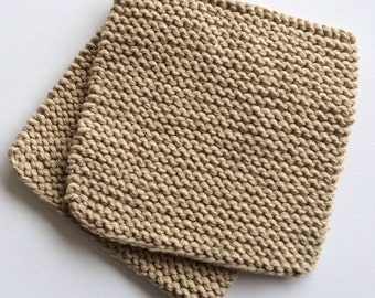 Hand Knit Cotton Pot Holders - Set of 2 - Jute