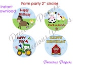 Digital farm party Cupcake Toppers Instant Download barn horse cow chicken cupcake toppers  DIY farm cupcake toppers