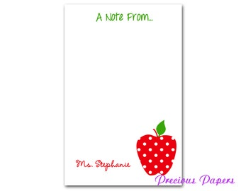 Personalized red polka dot apple notepad red polka dot apple note pad