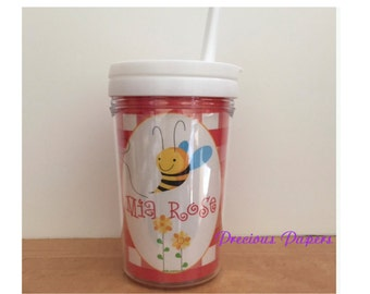 Personalized kids straw cups  Bumble Bee toddler cups  Bee plastic cup with lid and straw