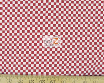 """100% Cotton Fabric By RBD Design For Riley Blake - Red/White Checkers - 45"""" Width Sold By The Yard (FH-1794)"""