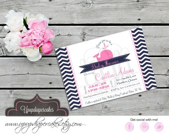 Preppy Whale Invitation--Navy Blue & Pink--Whale--Chevron--Girl Whale--Birthday, Baby Shower Invite