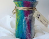 Colorful,  Multicolor Felt Vessel, Turquoise, Pink,  White,  The Sidewalk Chalk Art Vase / Wine Cozy - Felted Wool with Glass Vase Interior