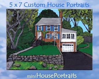 5 x 7 Hand Painted HOUSE PORTRAIT