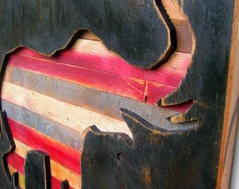 Large Wooden Raised Trunk Elephant Plaque - Rustic Distressed Wood Sign Big Al Alabama Crimson Tide