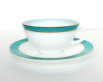 Vintage Pyrex Tea Cup - Milk Glass Turquoise and Gold