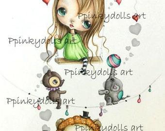 INSTANT DOWNLOAD 4 (JPG) Digital Digi Stamps..by Chrishanthi's art,Circus friends''